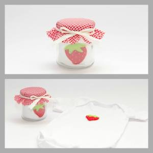 glass jar jam with cotton baby grow inside 0-3 3-6 6-12